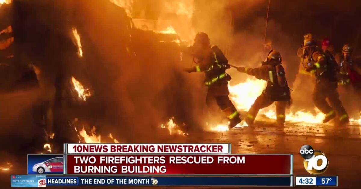 Firefighters rescued from burning building in El Cajon