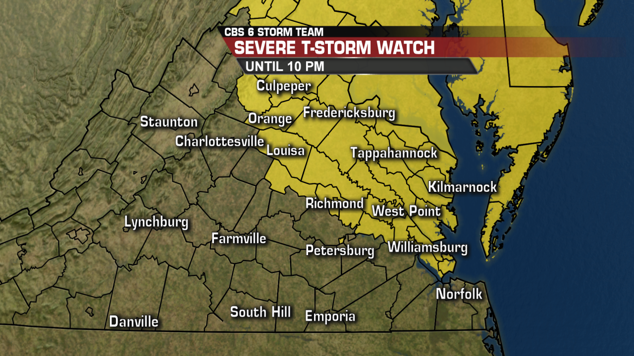Severe Thunderstorm Watch until 10 p.m.