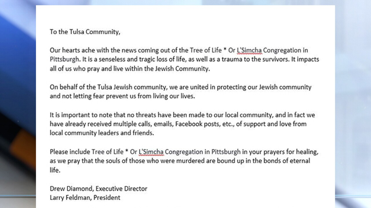 Jewish Federation of Tulsa issues statement in wake of synagogue shooting