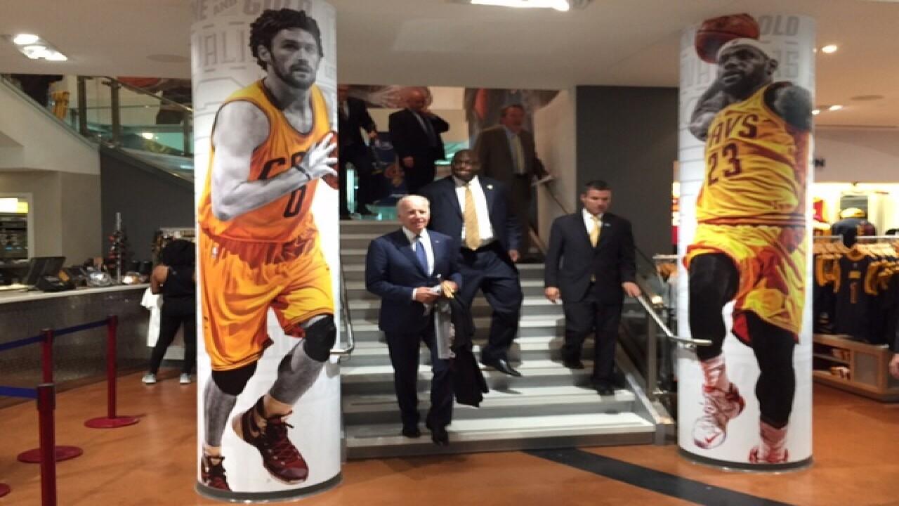 quality design 3f313 a6ba8 Vice President Joe Biden hits Cavaliers team shop before ...