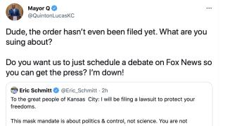 Twitter exchange between Lucas and Schmitt