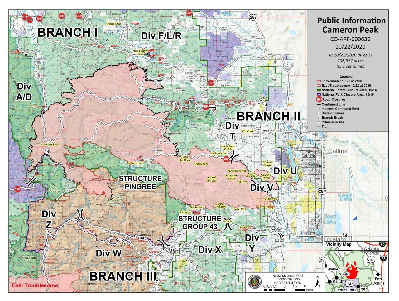 Cameron Peak Fire map_Oct 22 2020