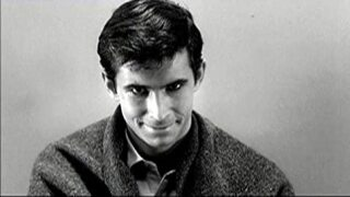 "Anthony Perkins stars in ""Psycho."""