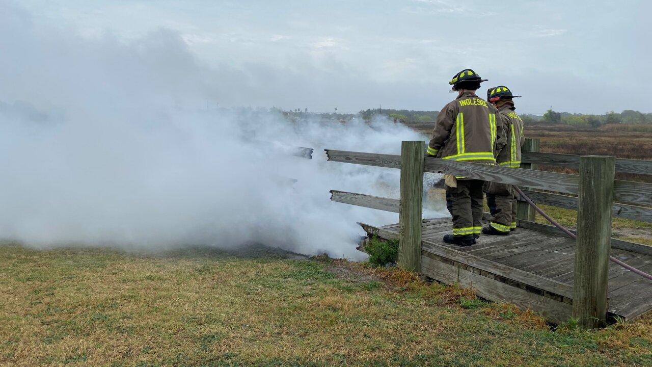 Ingleside park walkway set on fire