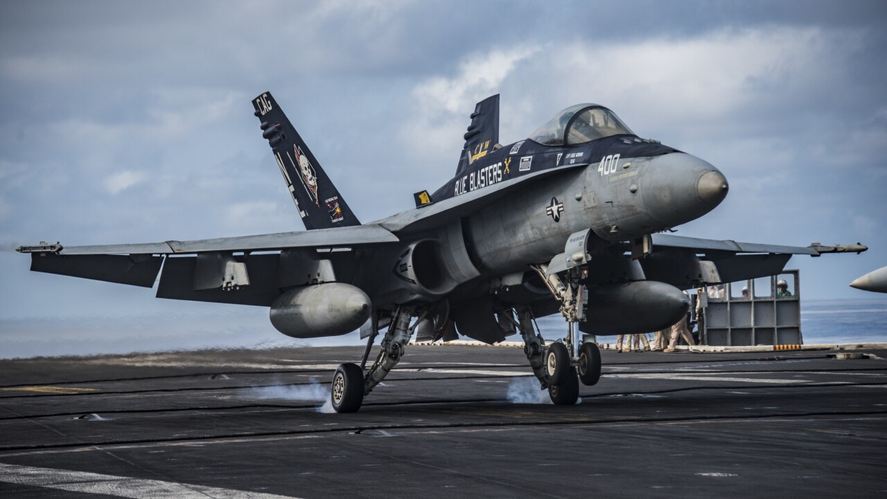 """Navy conducts final flight of the """"legacy"""" Hornet"""