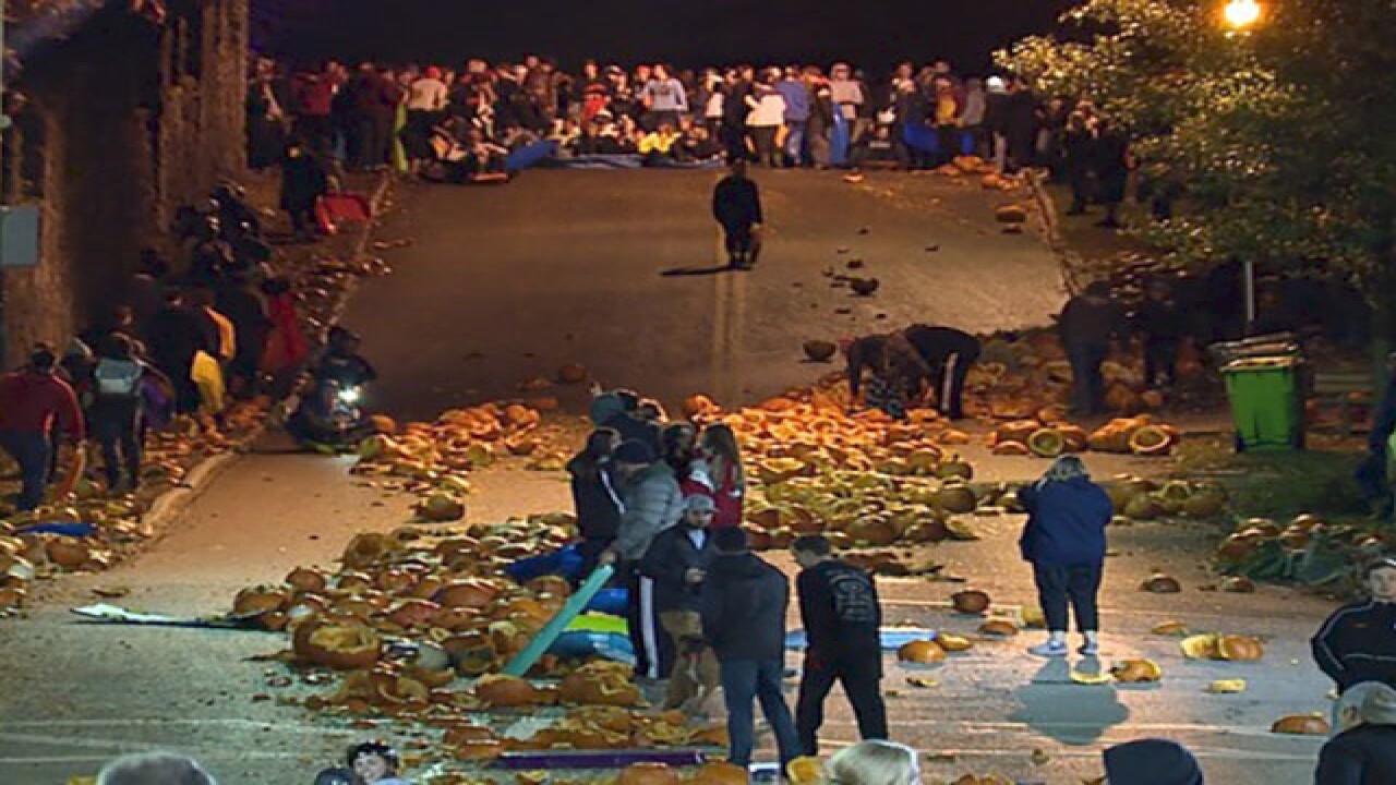 WATCH: Annual Chagrin Falls Pumpkin Roll