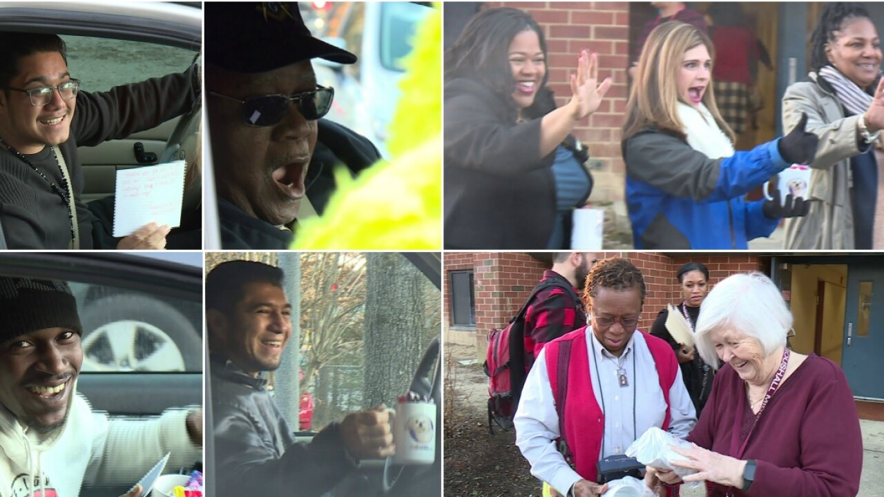 Kristen Luehrs surprises parents, teachers and bus drivers for Month of Giving