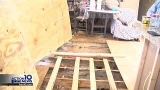 Christina Matheu's water-logged mobile home