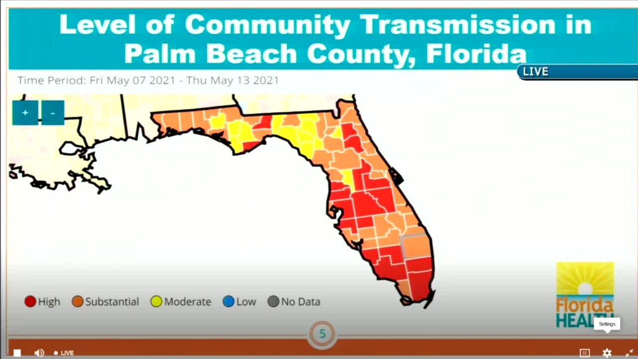 COVID-19 community transmission map in Florida from May 7 to 13, 2021.jpg