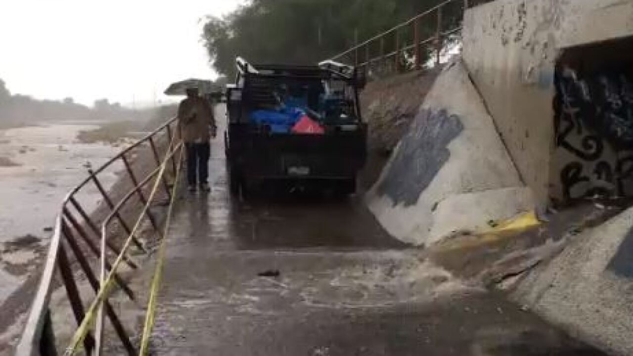 The National Weather Service issued a Flood Advisory for East Central Pima County and West Central Cochise County.