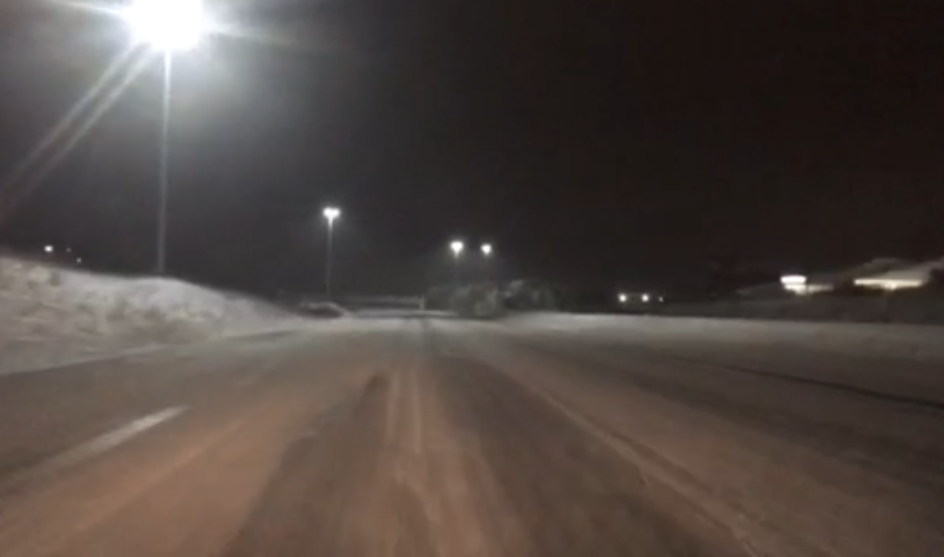 Snow covered I-96 in Kent County
