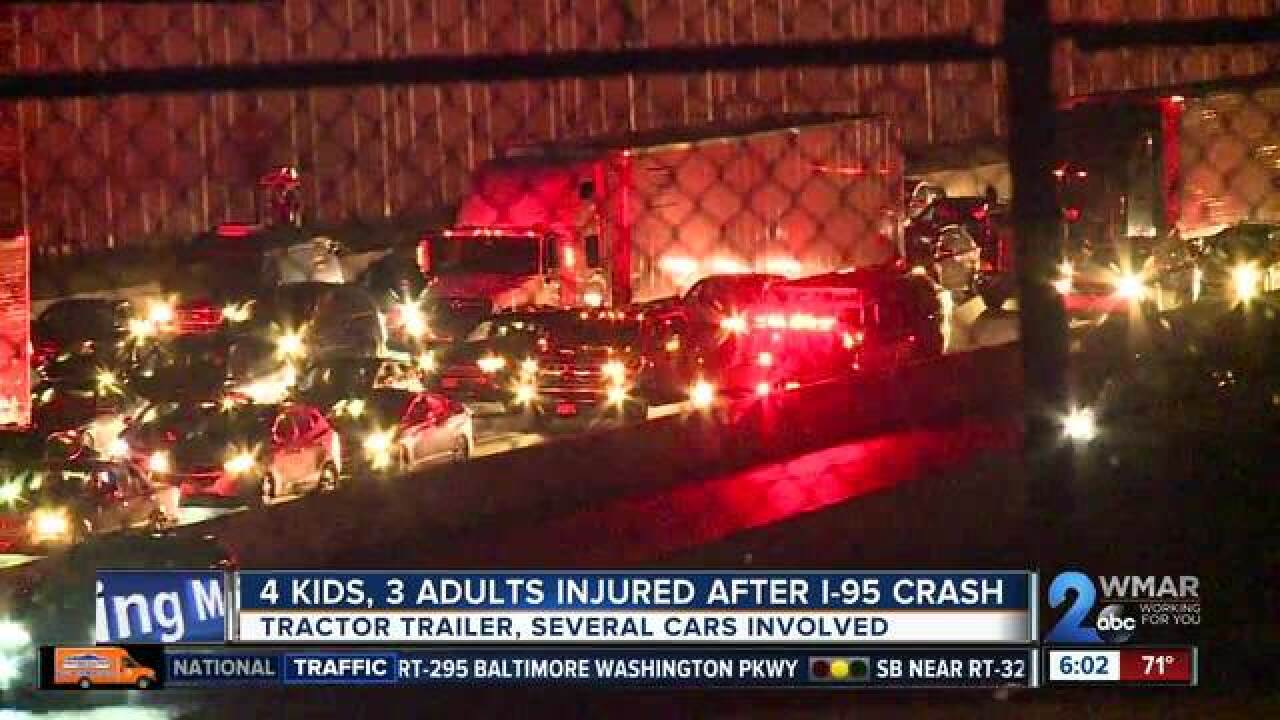 4 children, 3 adults in serious condition after multi-vehicle crash