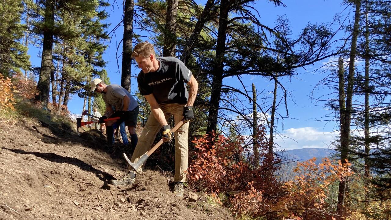 Volunteers work on House of Sky trail south of Missoula