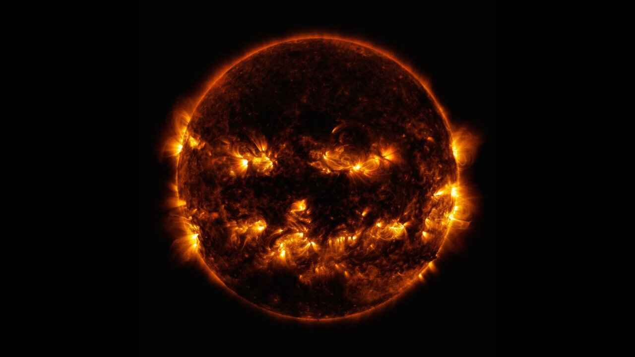 No, that's not a flaming jack-o-lantern. It's the sun.
