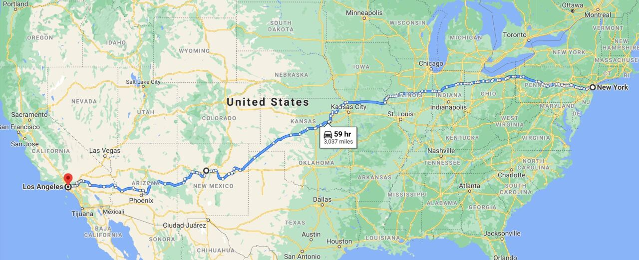 Map across the USA that the Pink Skies car will follow