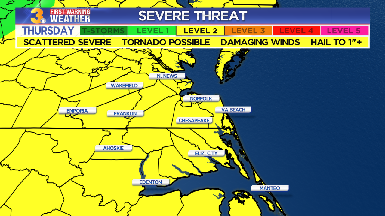 First Warning Forecast: Scattered severe storms possible Thursday afternoon and evening