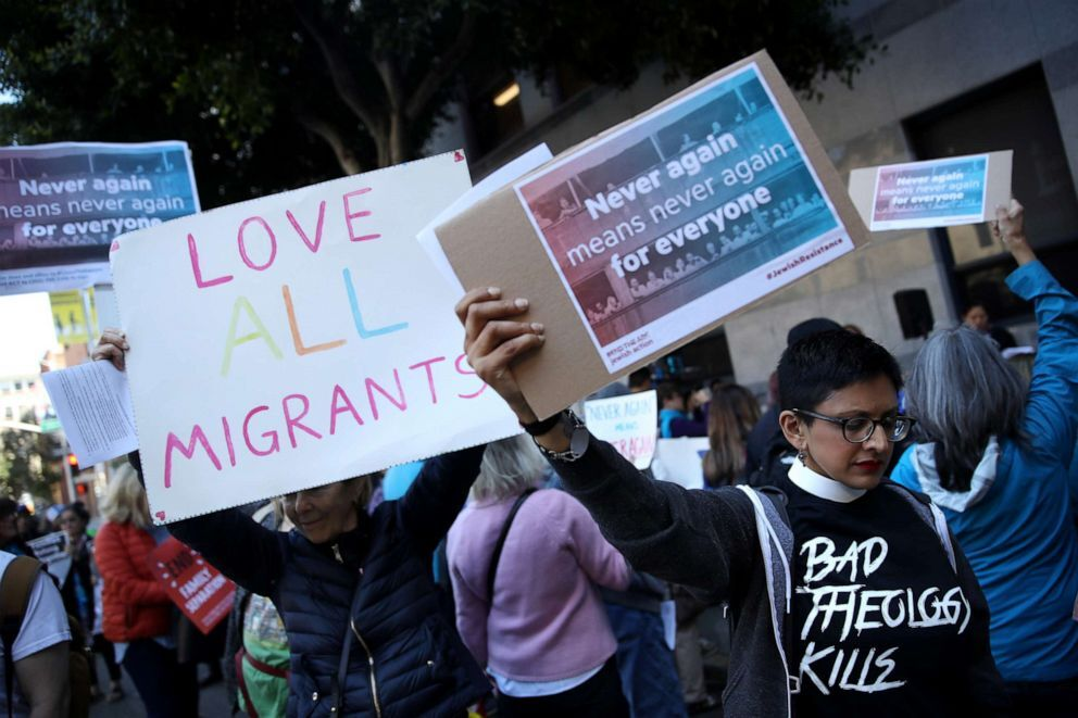 Protesters holds signs during a demonstration outside of the San Francisco office of the Immigration and Customs Enforcement, July 12, 2019, in San Francisco. (Justin Sullivan/Getty Images)