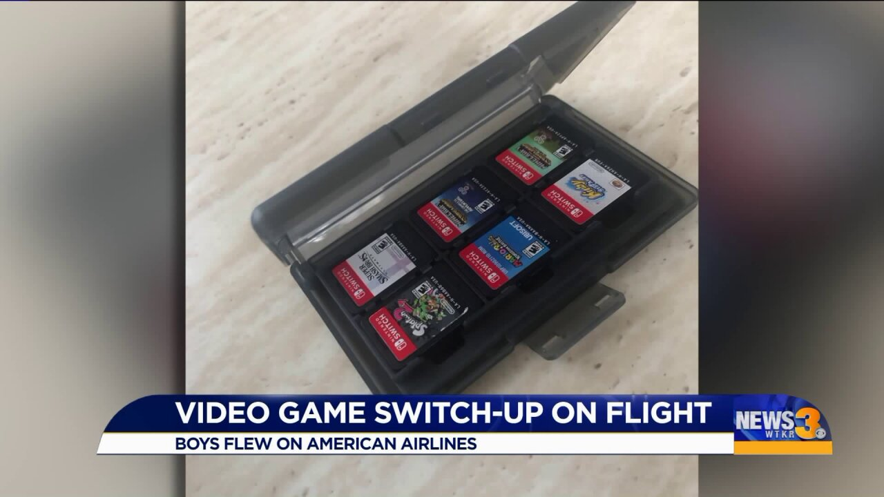 Mother tries to find video games' owner after the games board wrongflight