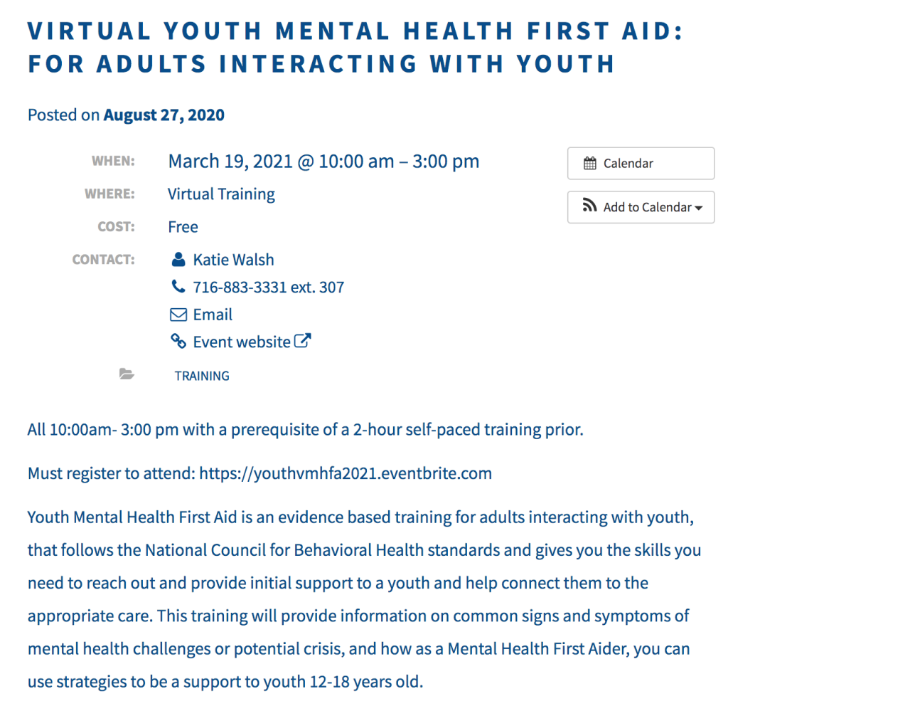 Compeer hosts mental health first aid courses
