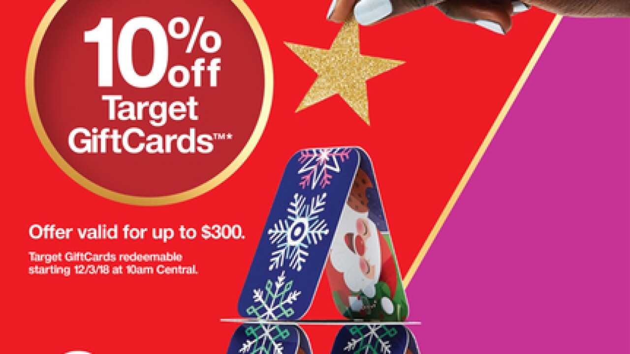 Target gift cards on sale Sunday, December 2
