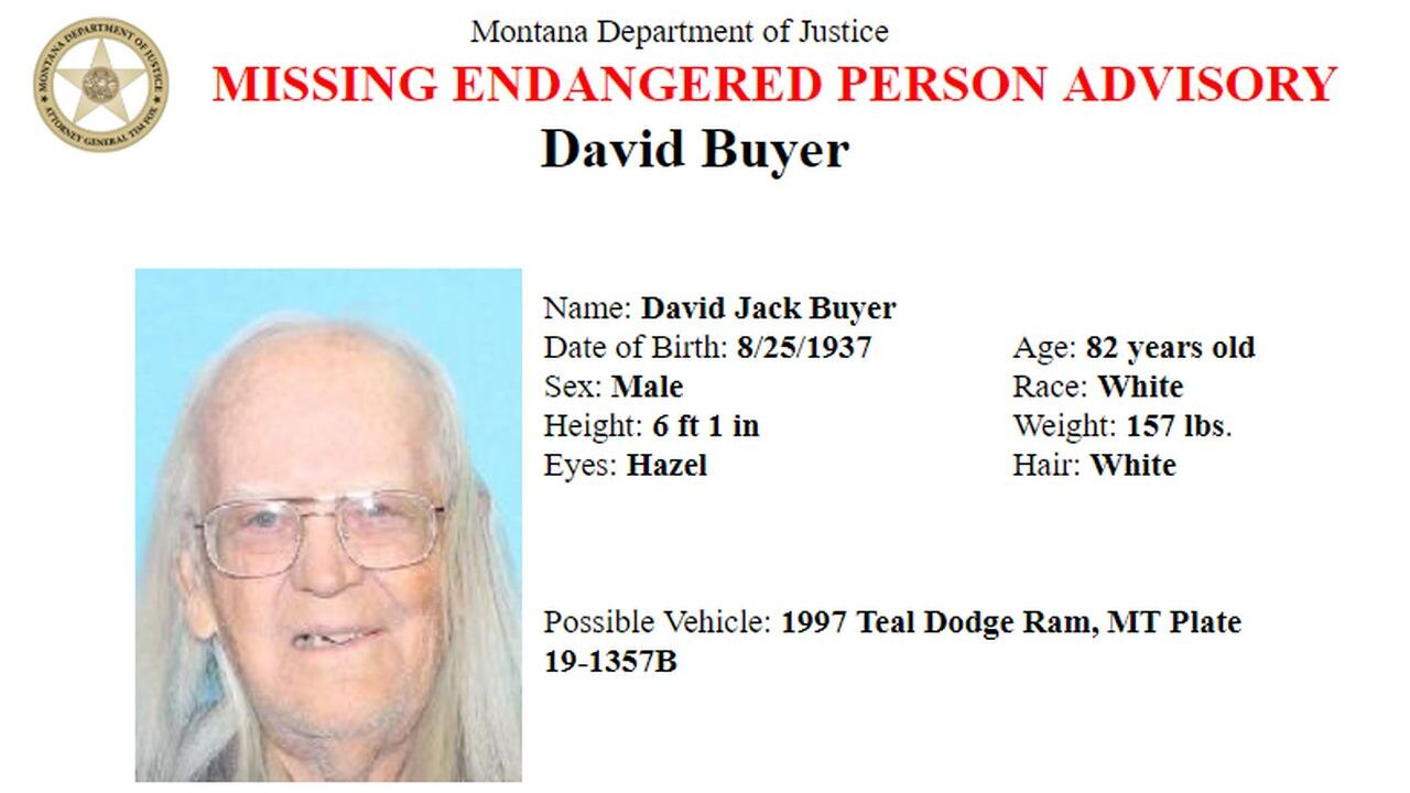 The Montana Department of Justice has issued a Missing/Endangered Person Advisory for David Jack Buyer.