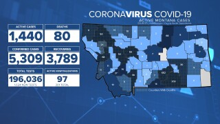 Montana COVID-19 case numbers update - Aug. 12