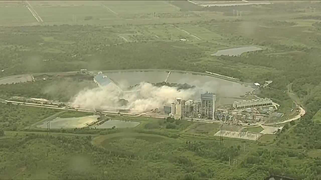 aerial view of FPL plant implosion in Indiantown immediate aftermath cloud of smoke
