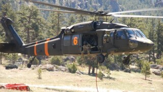 Colorado Army National Guard Black Hawk helicopter_water buckets training