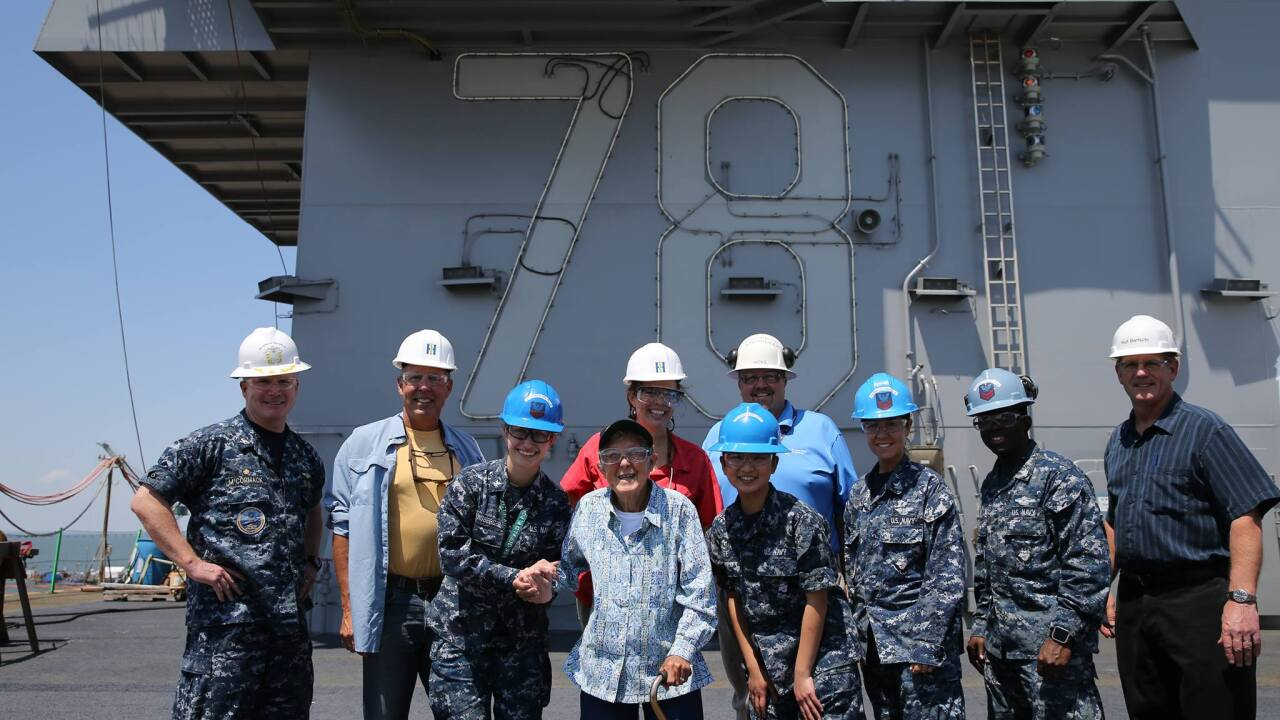 'Driving Miss Norma' tours Gerald R. Ford aircraft carrier as her adventure of a lifetime continues