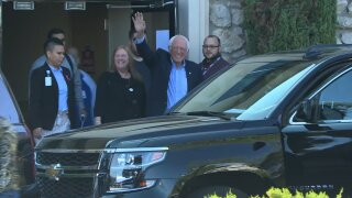 Bernie Sanders leaving hospital