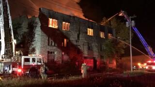 Three-alarm recycling plant fire on Metcalfe Street