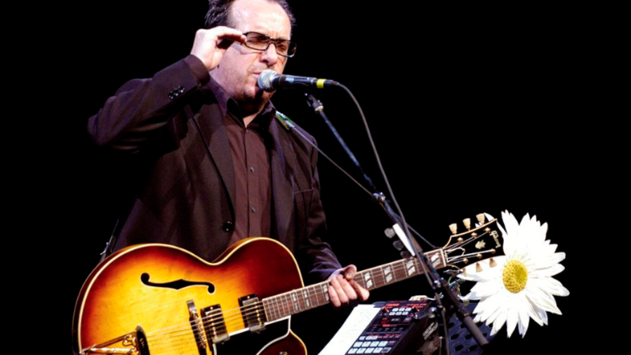 Elvis Costello with Fender guitar