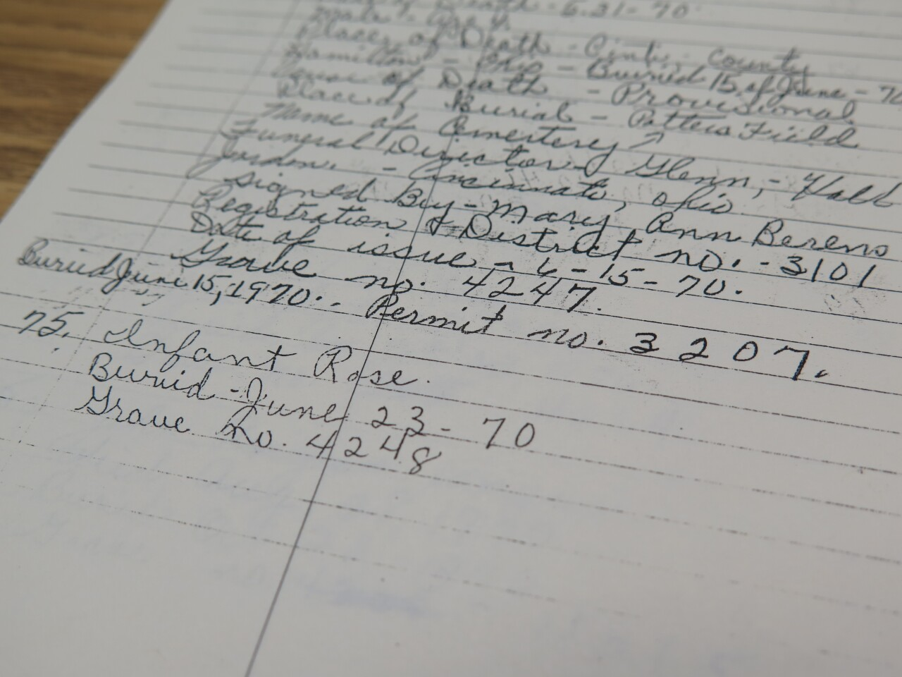 This photo shows a copy of a handwritten burial record for Potter's Field. The deceased person is listed as Infant Rose and was buried June 23, 1970 in grave number 4248.