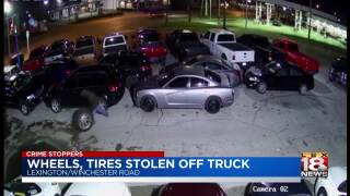 Crime Stoppers: Tires Stolen From Truck In Dealer Parking Lot