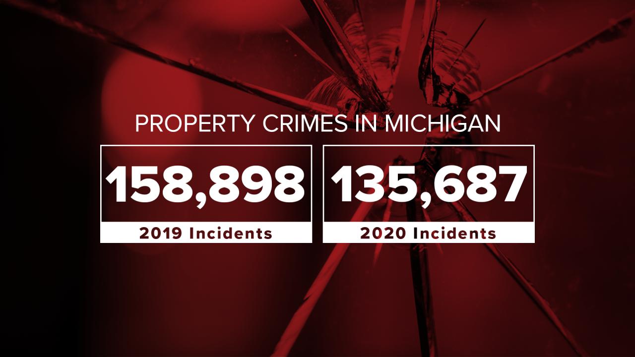 Property crimes in Michigan 2020