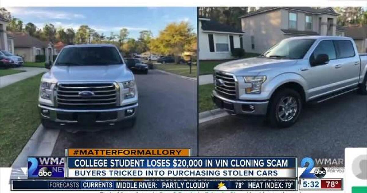 College student loses $20,000 in VIN cloning scam