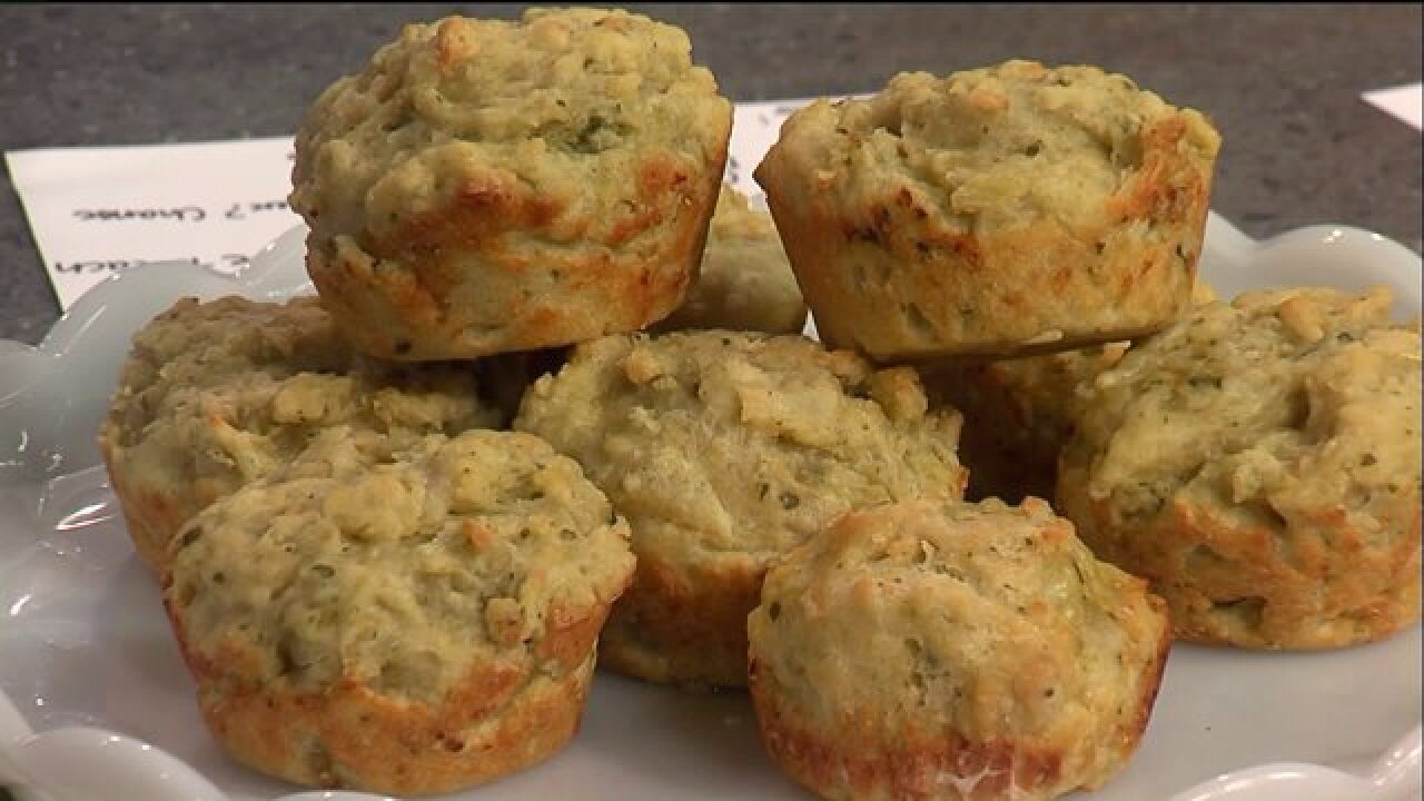 Check out the recipe for these savory Parmesan PestoMuffins
