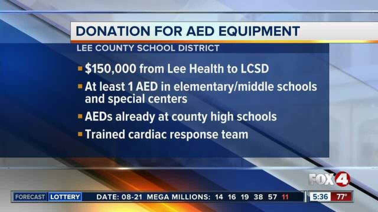 Defibrillators being added to all Lee schools