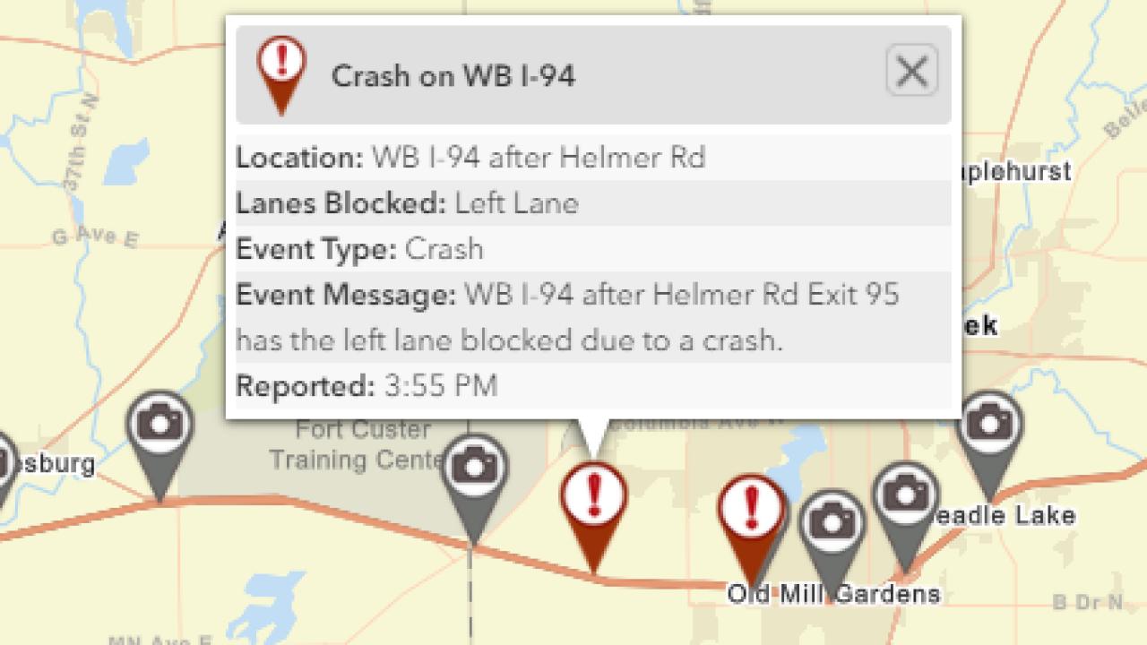 Jack-knifed semi closes left lane on I-94
