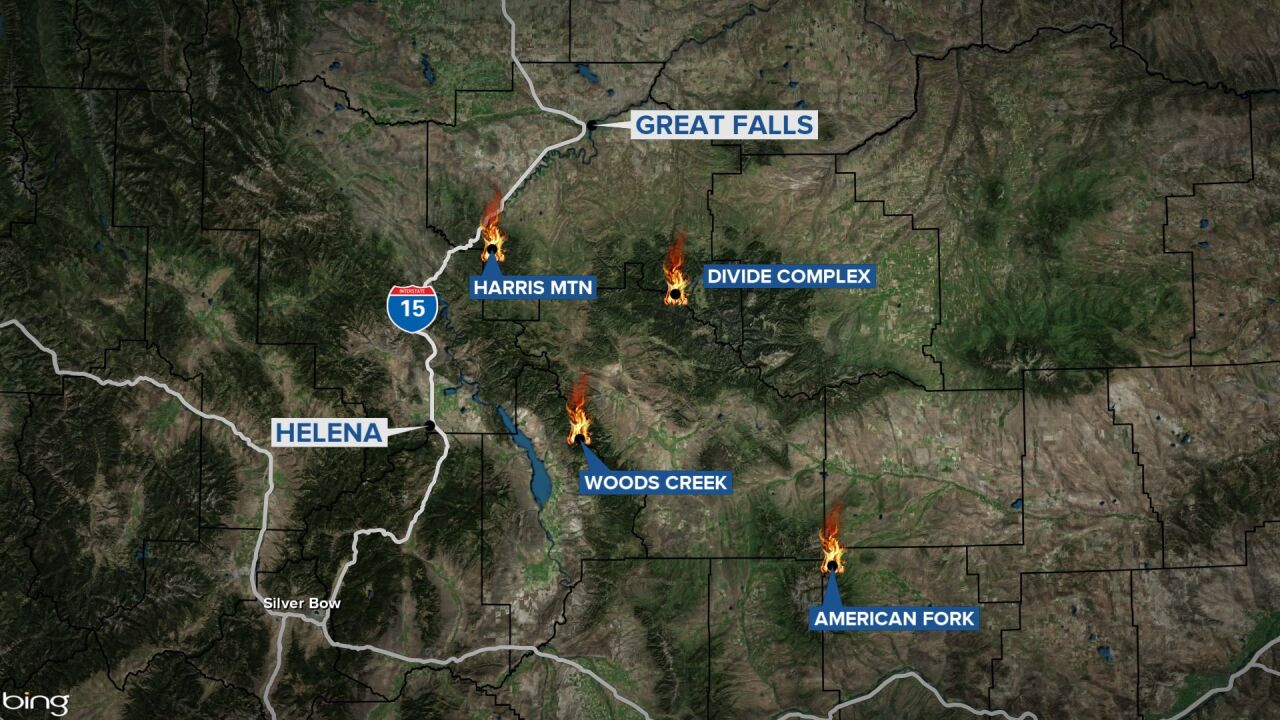 Four large fires burning south of Great Falls, east of Helena