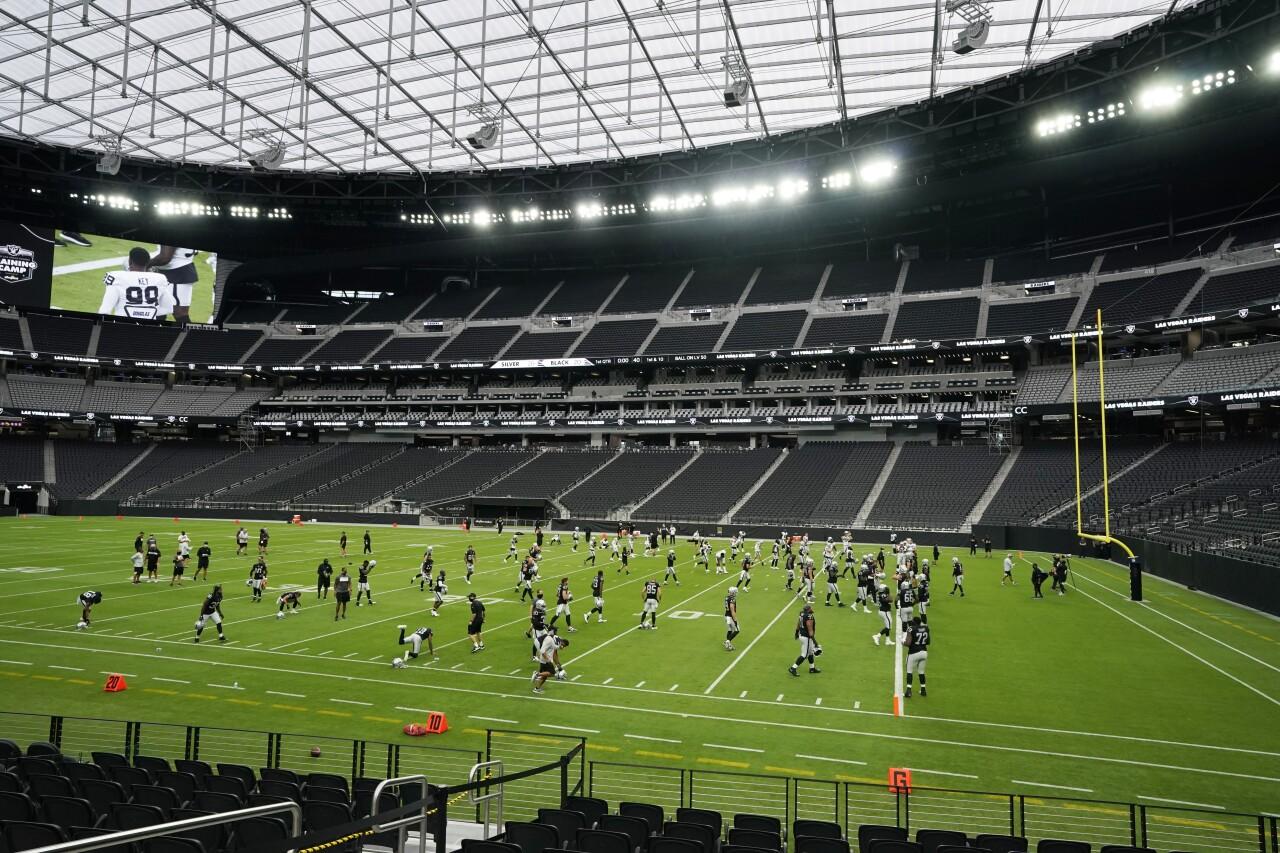 Las Vegas Raiders practice at Allegiant Stadium, August 2020