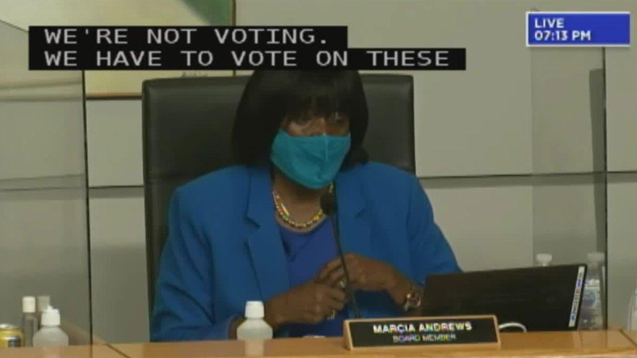 Palm Beach COunty School Board Member Marcia Andrews speaks at meeting on May 19, 2021