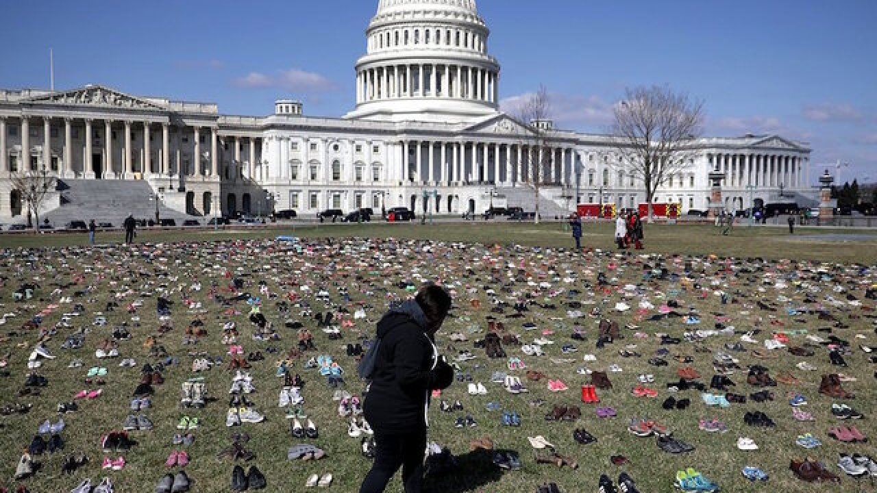 Activists place thousands of shoes on Capitol lawn in gun death memorial