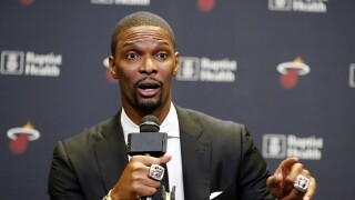 Chris Bosh speaks during Miami Heat news conference in 2019