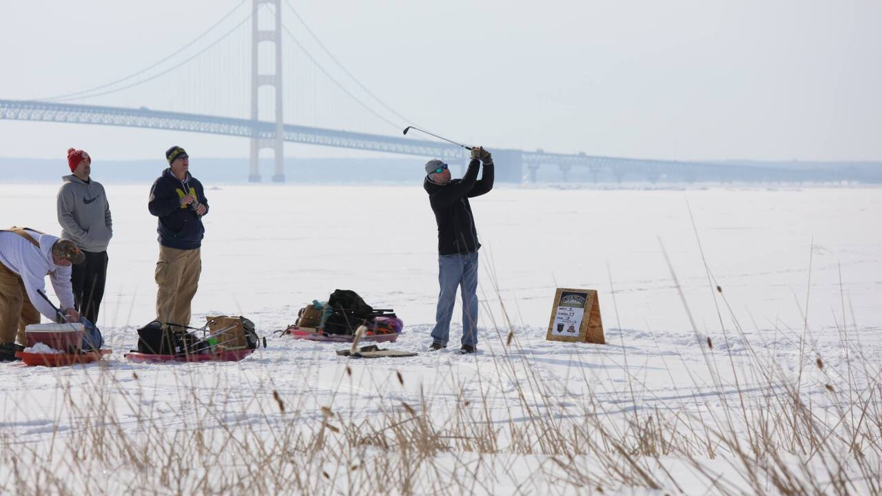 You can golf on frozen Lake Huron in the U.P. Ice Golf Scramble