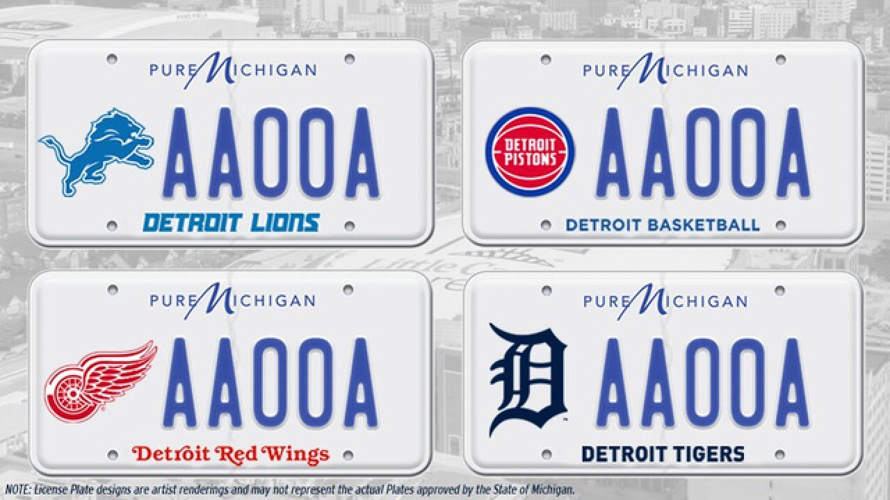 How to get Detroit sports teams license plates