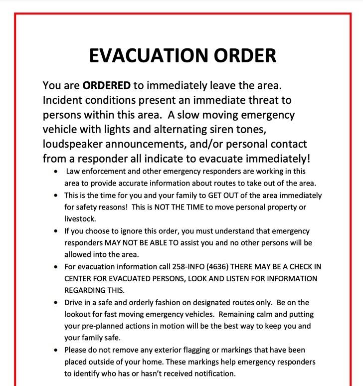 Missoula County Evacuation Order