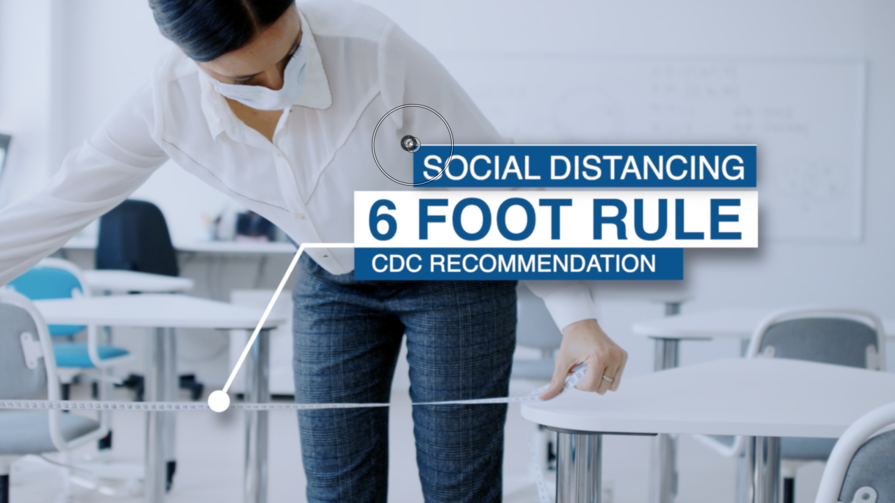 6-foot social distancing rule in schools
