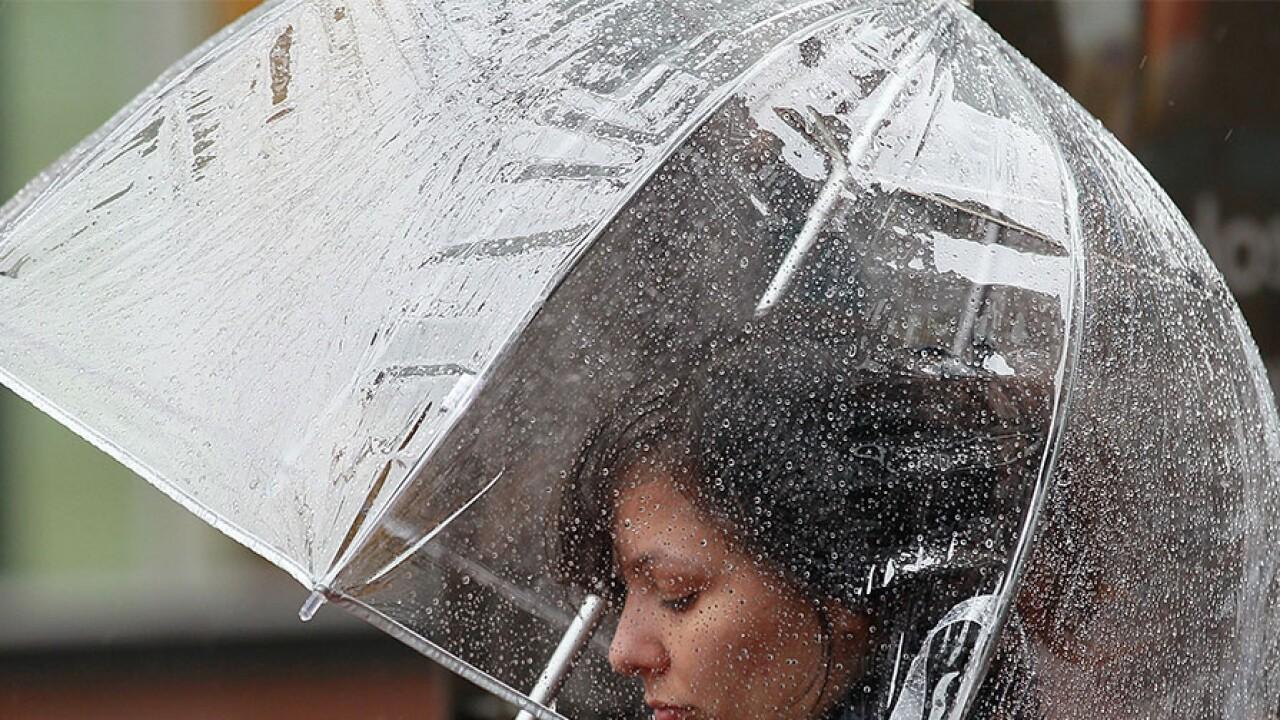 woman umbrella rain