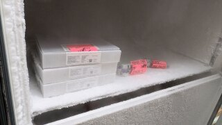 Pfizer COVID-19 vaccines stored inside an ultra-cold freezer at the St Lucie County Health Department